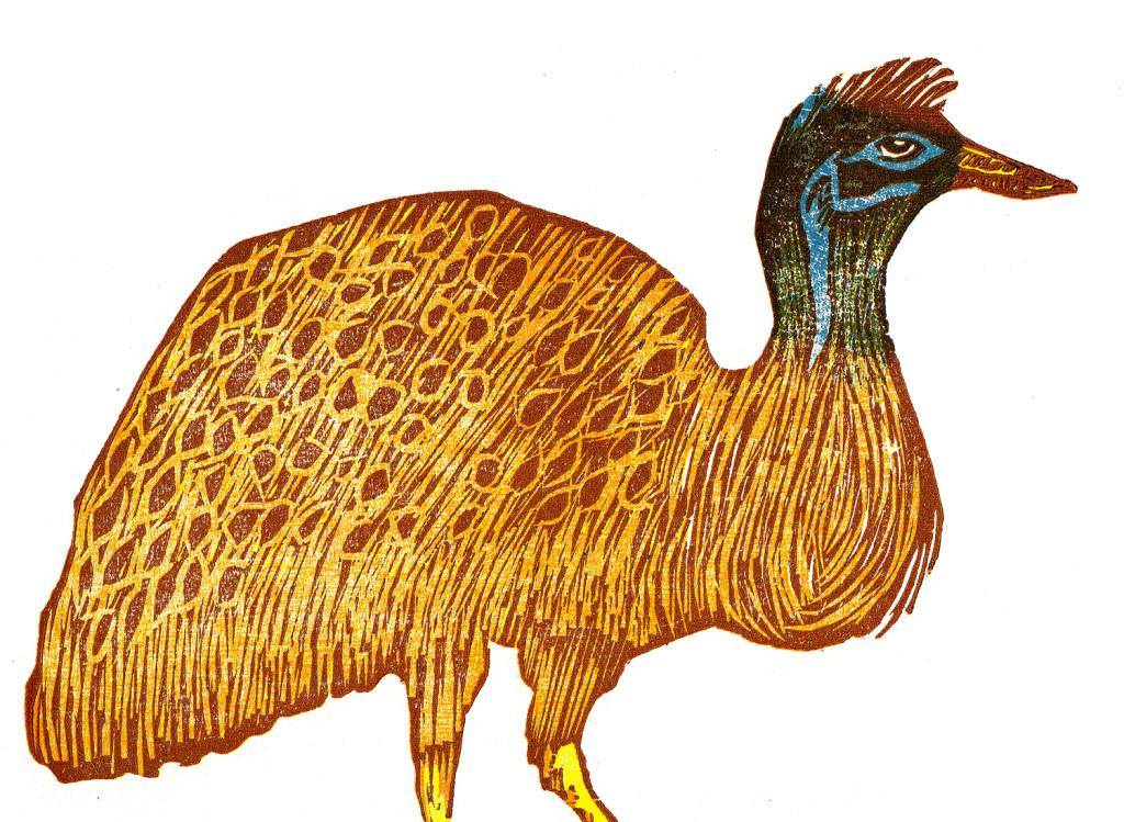 kangaroo island emuWoodcut